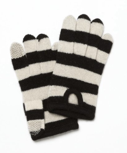 PORTOLANO-Black-And-Ivory-Striped-Cashmere-ITouch-Gloves