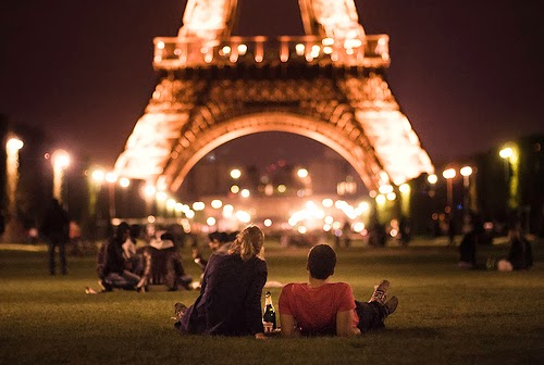 Eiffel Tower with French Couple