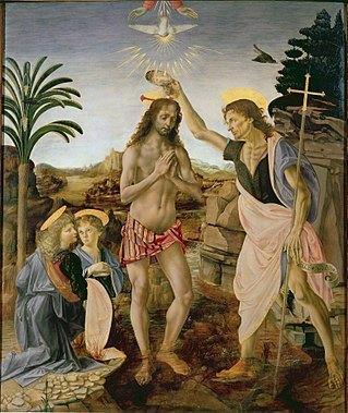 CJE Must See in Uffizi- 319px-Andrea_del_Verrocchio,_Leonardo_da_Vinci_-_Baptism_of_Christ_-_Uffizi